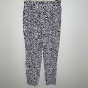 Boden navy & white print baggy mid rise joggers 6